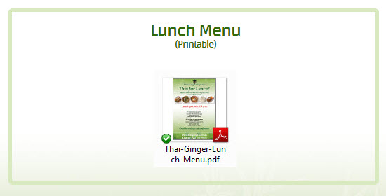Thai Ginger Lunch Menu