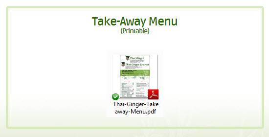Thai Ginger Take-Away Menu